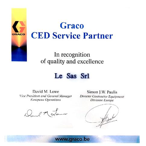 Certificato Graco CED Service Partner